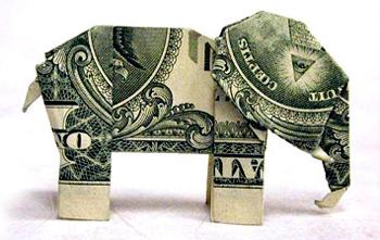 elephant money origami